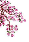 Sakura Branch Painting - stock illustration