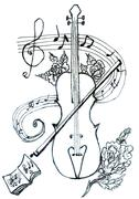 Violin with Notes Sketch Stock Illustration