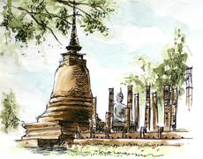 Thailand ancient  temple water color painting Stock Illustration