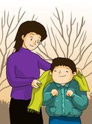Motherhood parental love concept. Mather taking care of kid illustration Stock Illustration