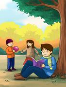 Kids children playing in the autumn park illustration Piirros