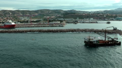 MARSEILLE - Industrial port of Marseille, shot from cruise ship - stock footage