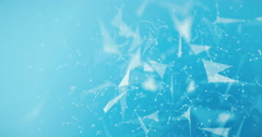 Abstract blue background with points and lines. Rotating around. Stock Footage