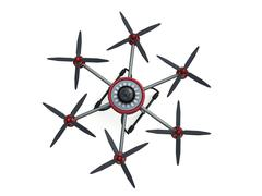 Red and gray hexacopter isolated on a white background. 3d illustration - stock illustration