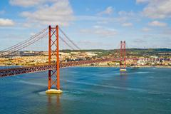 Bridge 25 de Abril, Lisbon, Portugal - stock photo