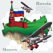 Russia country infographic map in 3d with country shape flying in the sky Stock Illustration