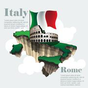 Italy country infographic map in 3d with country shape flying in the sky - stock illustration