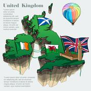 United kingdom country infographic map in 3d with country shape flying - stock illustration
