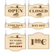 Western bar logo set collection with open, closed, day off signs in outline. Stock Illustration