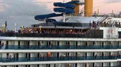 SANTOS  - Costa Mediteranea cruise ship docked in the por Stock Footage
