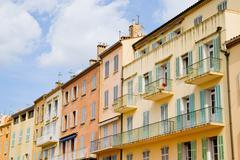 Houses, St. Tropez, Cote d'Azur, France - stock photo