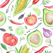 Vegetarian Vegetable Pattern - stock illustration