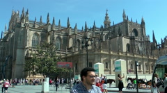 SEVILLA  - Cathedral of Sevilla, front view Stock Footage