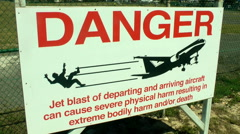 Sint Maarten airport danger sign Stock Footage