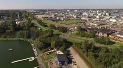 Petrochemical factory in the Netherlands aerial shot with a drone Stock Footage