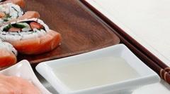 Sushi sashimi with ginger Stock Footage