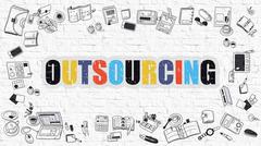 Outsourcing on White Brick Wall Stock Illustration