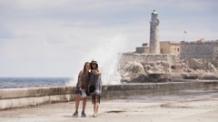 1-Tourist Girls Taking Selfie With Mobile Phone In Habana Cuba Stock Footage