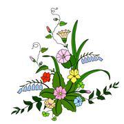 Beautiful bouquet of wild flowers. - stock illustration