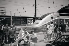 SNCF French Rail Operator Strike - PRotester making barbeque Stock Photos