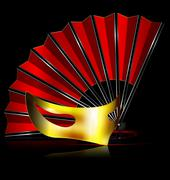Red fan and golden mask Stock Illustration