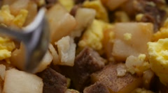 Breakfast meal being stirred close view - stock footage