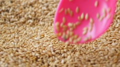 Stirring golden flaxseed with a pink spoon Stock Footage