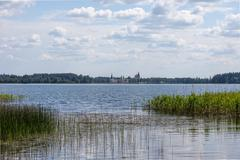 Lake Valdai and Iversky monastery in the distance. Russia - stock photo