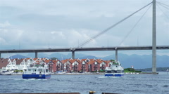 Boats sailing for the open sea from Stavanger Stock Footage