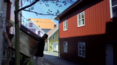 Colorful wooden houses in Norway Stock Footage