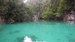 Shallow Channel Between Limestone Islands in Raja Ampat Stock Footage