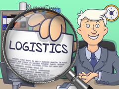 Logistics through Magnifier. Doodle Concept Stock Illustration