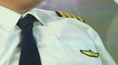 Civil aviation pilot flying airliner, passenger and cargo transportation service Stock Footage