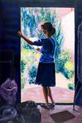 Original painting of woman reading in a doorway. Stock Illustration