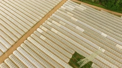 AERIAL: Power pole between greenhouses Stock Footage