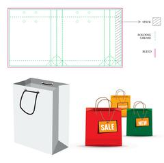 Shopping Bag with Die Cut Layout template Stock Illustration