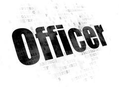 Law concept: Officer on Digital background - stock illustration