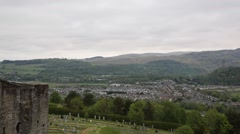 View of Stirling Scotland UK with the countryside and town pan Stock Footage