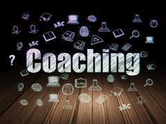 Education concept: Coaching in grunge dark room - stock illustration
