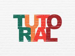 Education concept: Tutorial on wall background - stock illustration