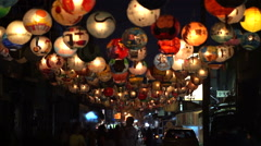 Taiwanese lantern festival hand painted lanterns hanging night walking street Stock Footage