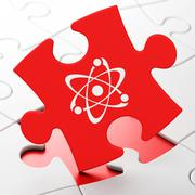 Science concept: Molecule on puzzle background - stock illustration