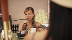 6-Women Friends At Cafeteria Smoking Electronic Cigarette Stock Footage