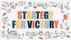Strategy for Victory in Multicolor. Doodle Design - stock illustration
