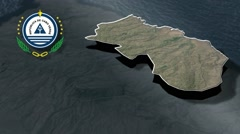 Santa Cruz  with Coat of arms animation map Stock Footage