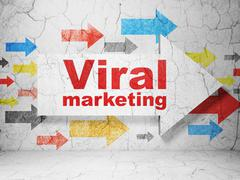 Marketing concept: arrow with Viral Marketing on grunge wall background - stock illustration