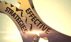 Effective Strategies on Golden Metallic Gears Stock Illustration