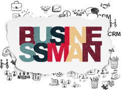 Finance concept: Businessman on Torn Paper background - stock illustration