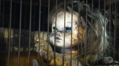 Horror Halloween puppet girl child abuse Stock Footage