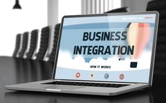 Laptop Screen with Business Integration Concept Stock Illustration